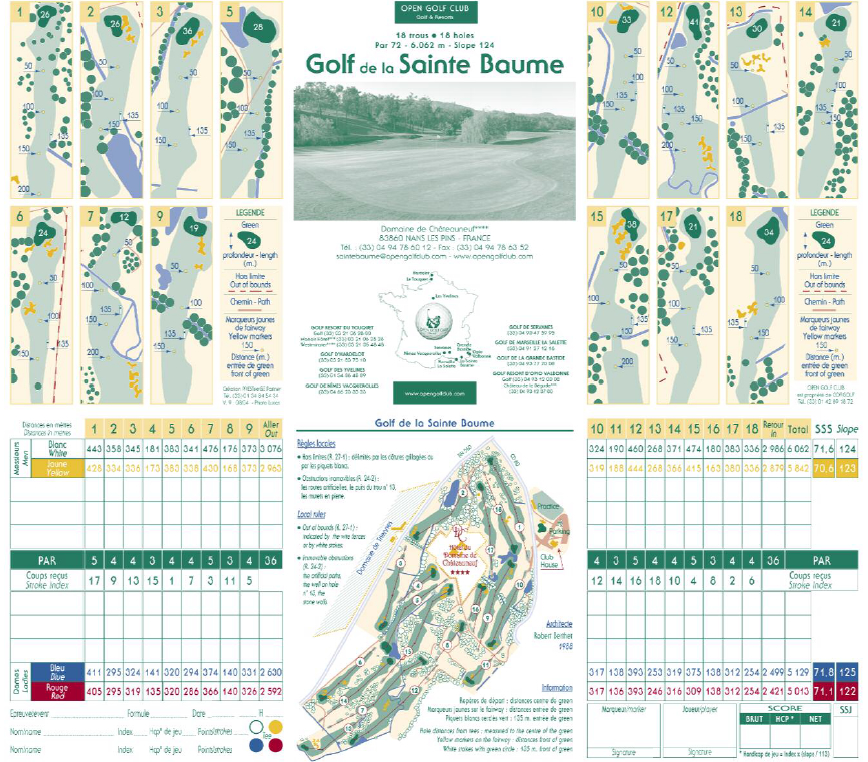 Golf de la Sainte Baume score card